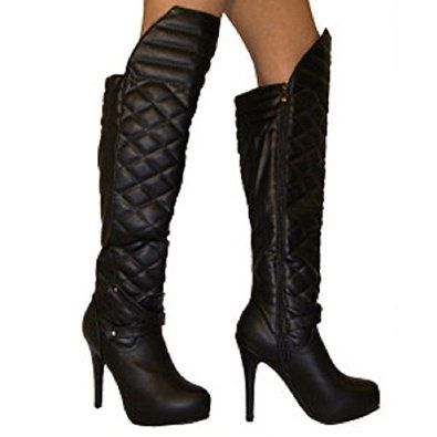 Women's Quilted Thigh High Boots Kitty Paws Shoes | Amazon.com
