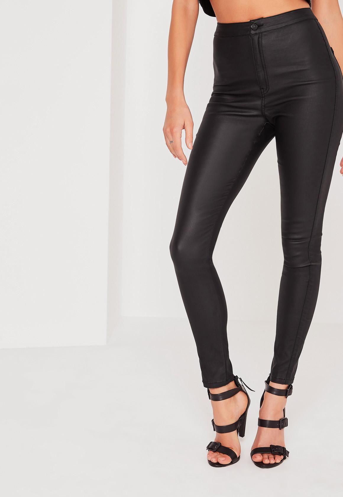 a0ccb96095a Black Vice High Waisted Coated Skinny Jeans