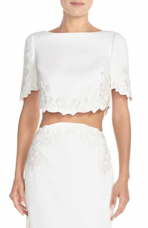 1a474a8710f4ef Ted Baker London  Capris  Embroidered Crop Top