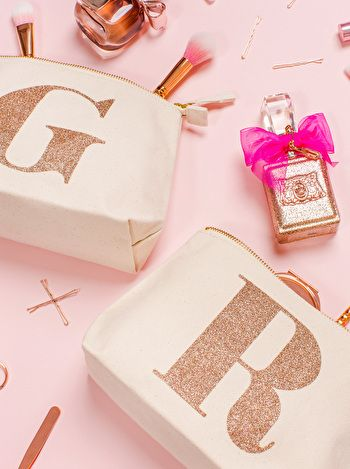 Initial Makeup Bag Rose Gold Glitter