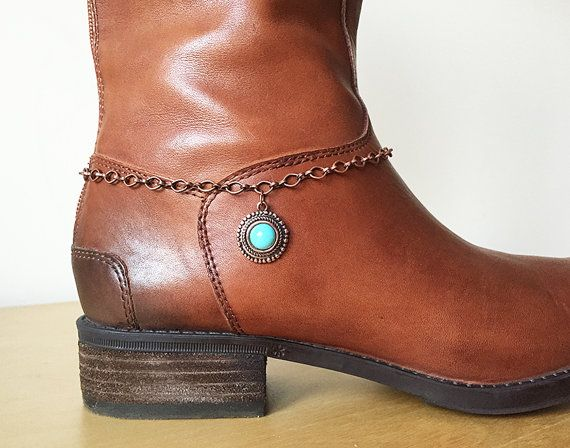 Boot Jewelry Bracelet Anklet Turquoise By Studio007 Copper