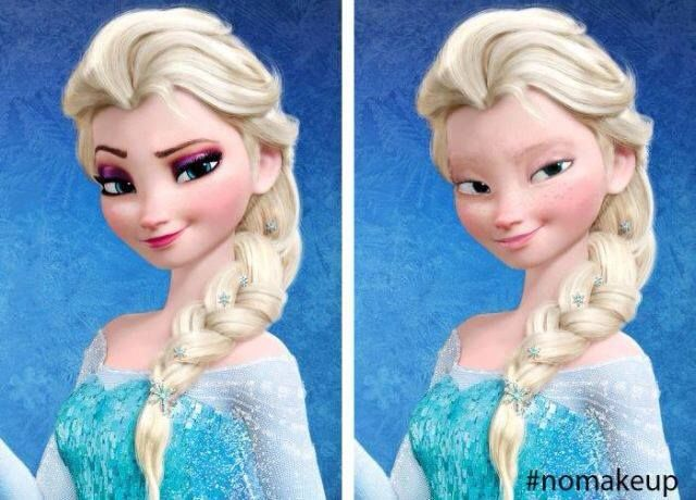 elsa with no makeup<<<<I A, PRETTY SURE SHE WOULD STILL HAVE EYEBROWS EYE LASHES AND BLUE EYES