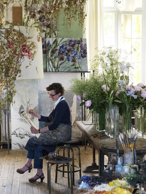 French floral artist Claire Basler's home, garden and studio in Les Ormes, outside Paris.Botanist.