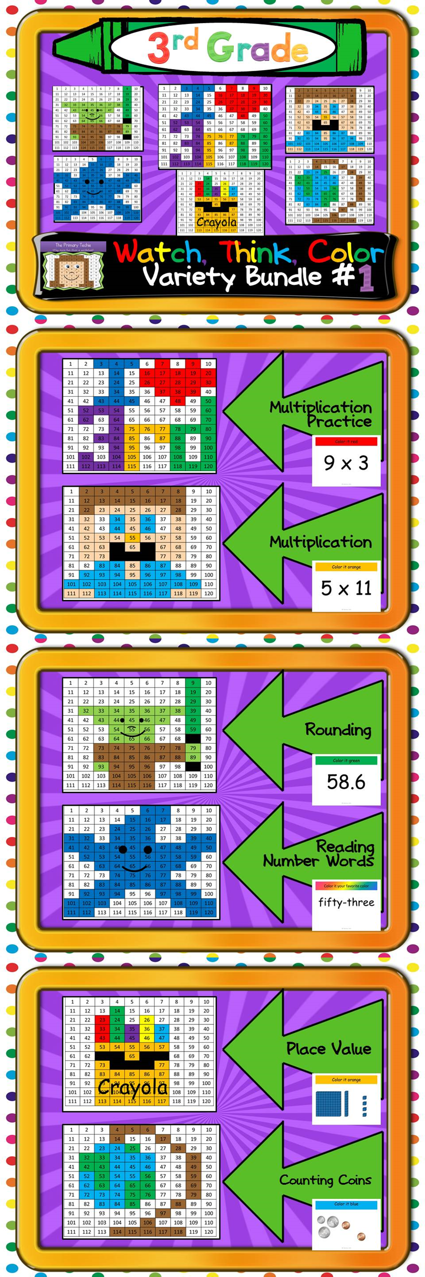 Watch, Think, Color games designed just for third graders!  Multiplication practice, reading number words, rounding, counting coins, and place value!  Each game keeps kids focused and engaged for 15-20 minutes.  $
