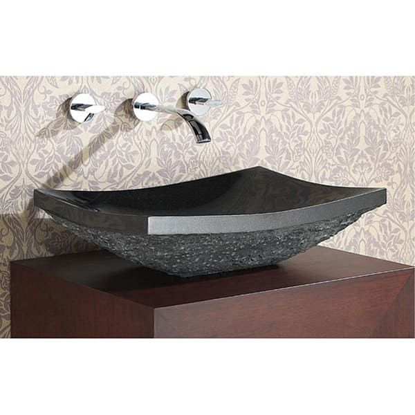 Avanity Black Granite Stone Rectangular Vessel SInk Rectangular