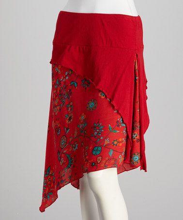 Look what I found on #zulily! Red Floral Skirt #zulilyfinds