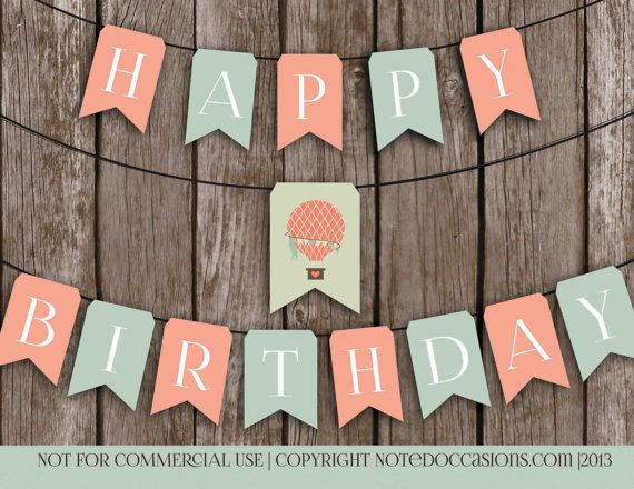 Printable Happy Birthday Banner Vintage Hot Air by NotedOccasions