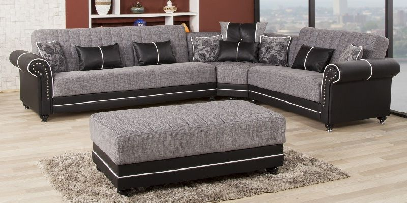 Grey Nailhead Sectional