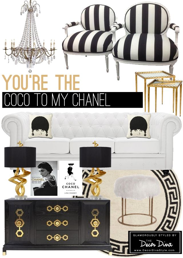 Black and white and gold room inspired by coco chanel the decor diva http decordivastyle Pinterest home decor black and white