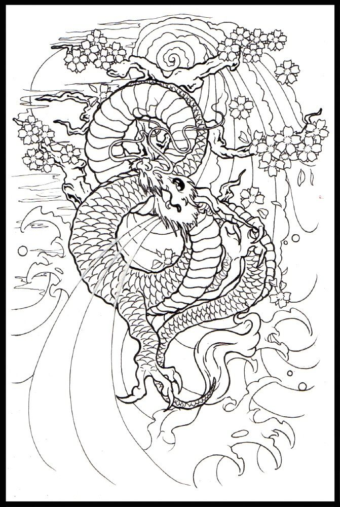 Japanese Dragon Drawings Japanese Dragon Line Art 042412 With