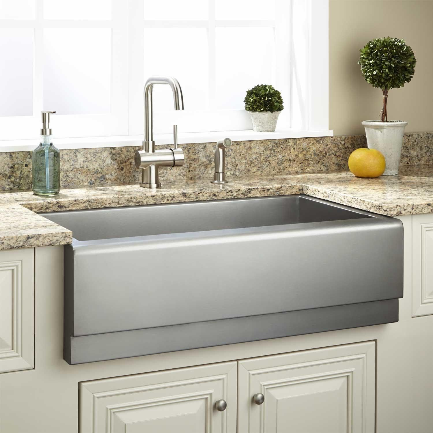 """33"""" Executive Zeroradius Stainless Steel Farmhouse Sink  Beveled Best Stainless Kitchen Sinks Review"""