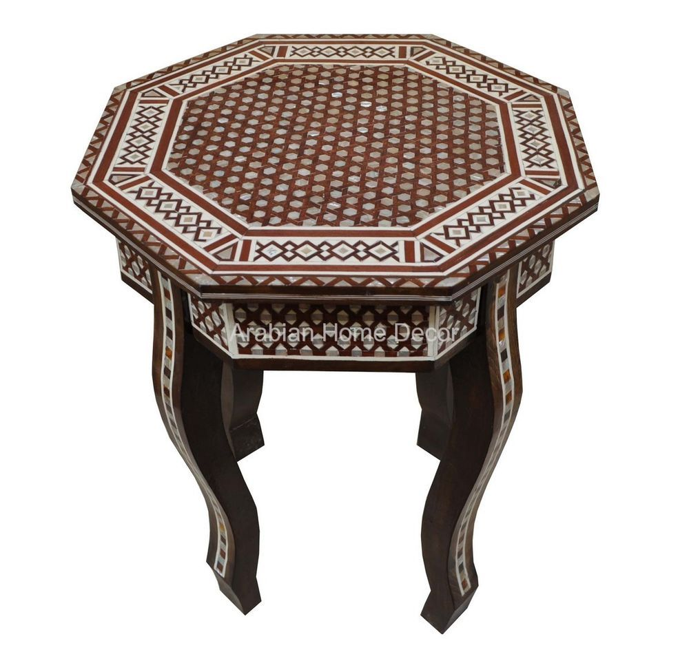 Egyptian Moroccan Mother Of Pearl Inlay Octagonal Wood Side Coffee Table