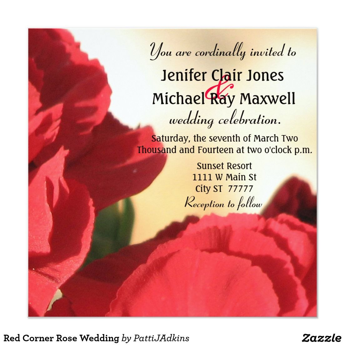Red Corner Rose Wedding Invitation | Pinterest | Corner, Wedding and ...