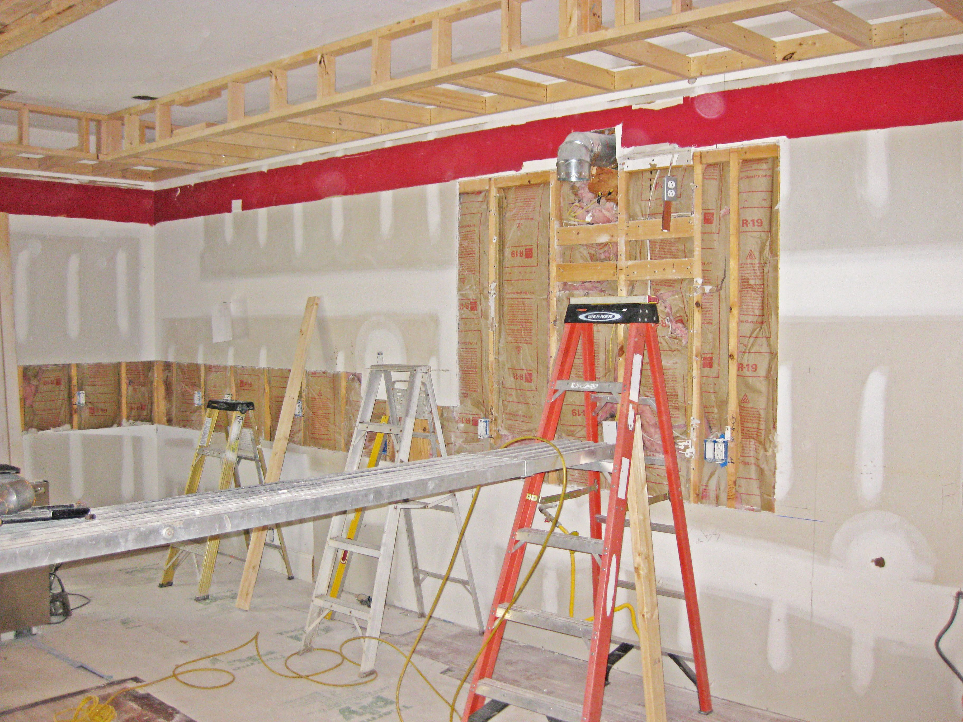 kitchen soffit being built in daniel island remodel project