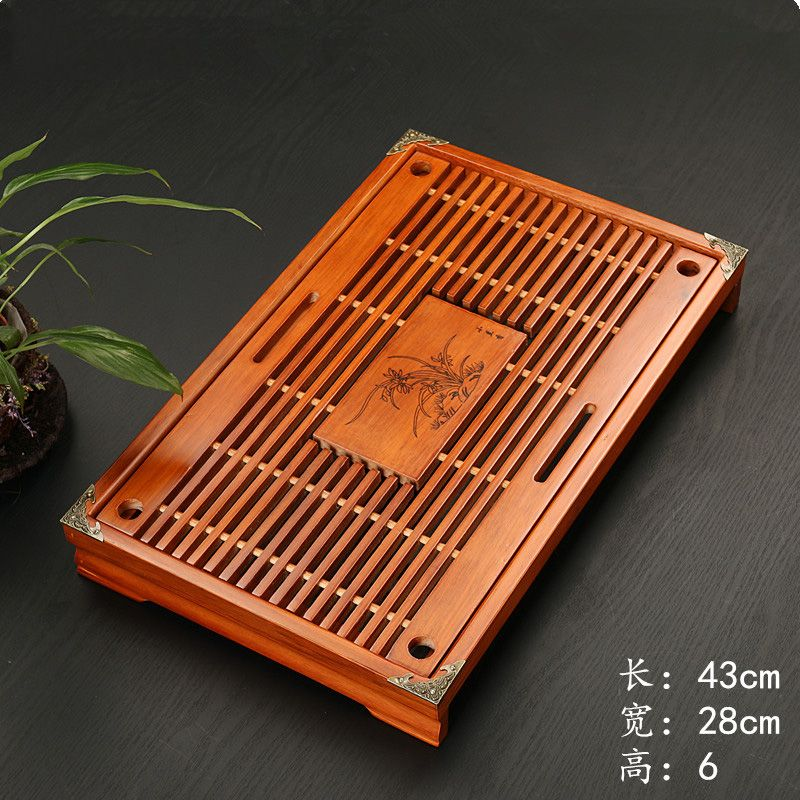 Solid Wood Tea Tray Drainage Water Storage Kung Fu Set Drawer Room Board Table