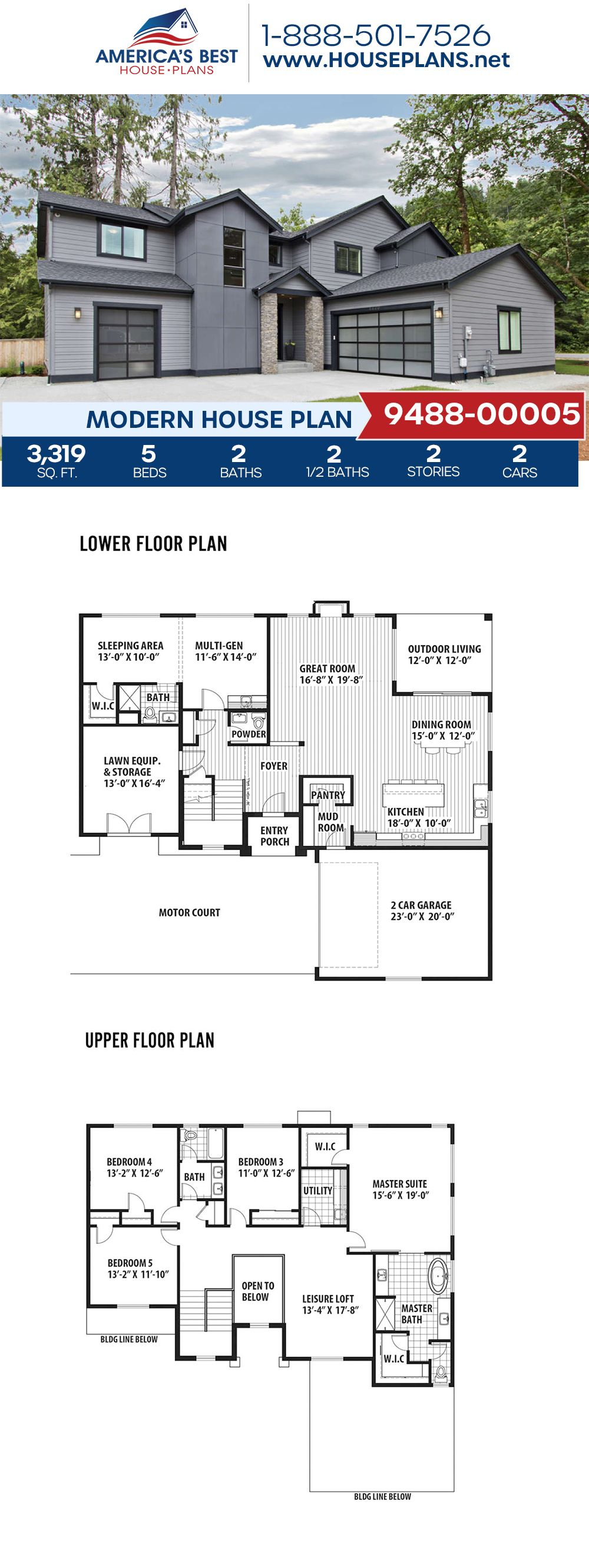 House Plan 9488 00005 Modern Plan 3 319 Square Feet 5 Bedrooms 3 Bathrooms In 2020 Small House Design Architecture Dream House Plans House Layout Plans