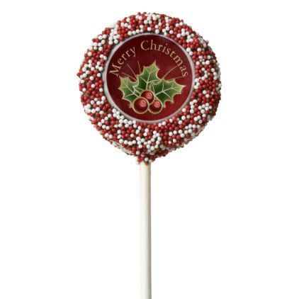 Holly Berry Christmas Personalized Red Chocolate Covered Oreo Pop   Zazzle.com #oreopops Holly Berry Christmas Personalized Red Chocolate Covered Oreo Pop #oreopops