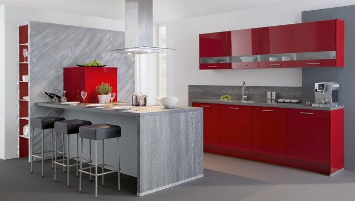 Decoración de cocinas modernas en rojo Decoración de cocina