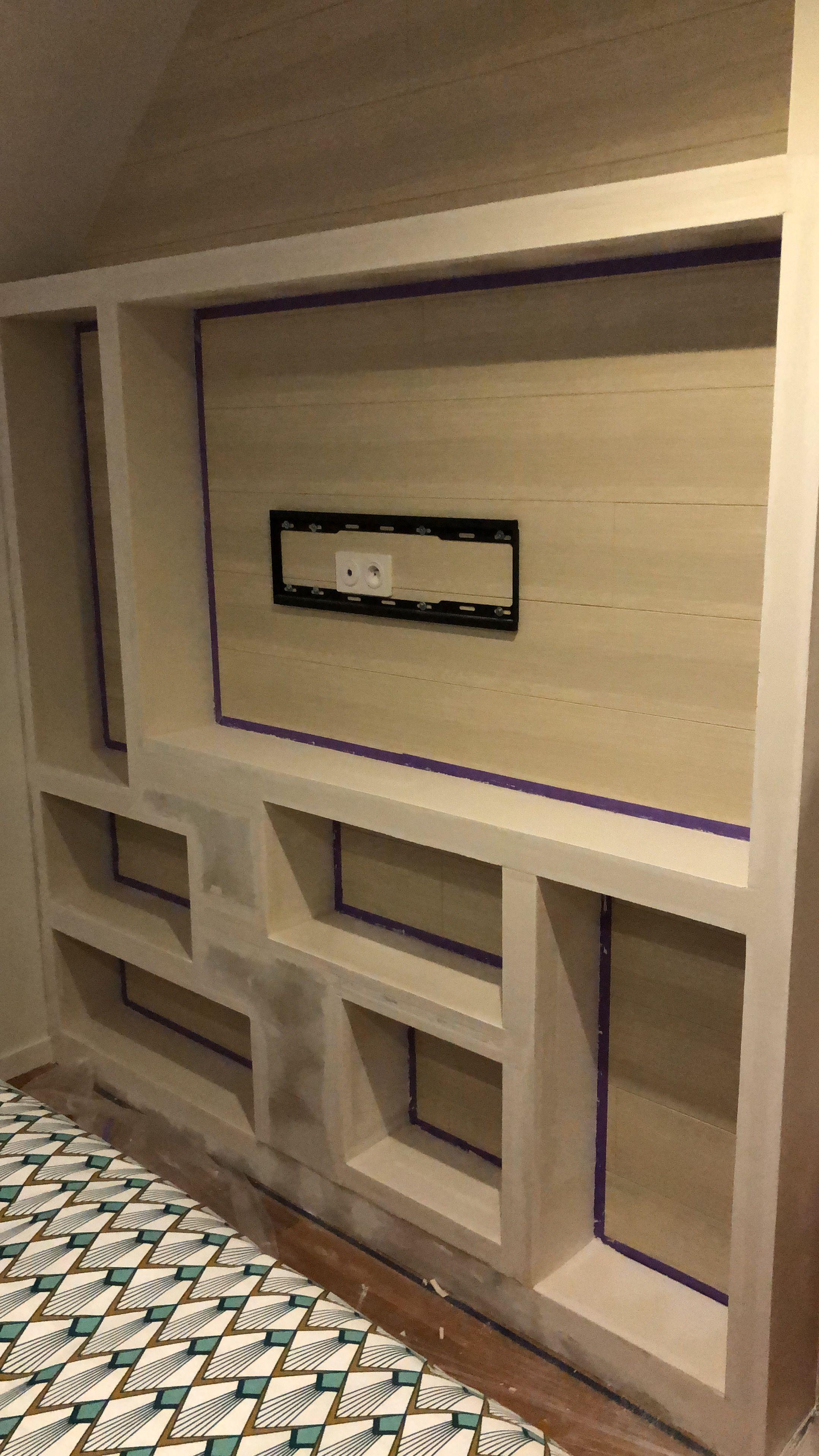 meuble tv  bibliothèque  placo  meuble tv chambre