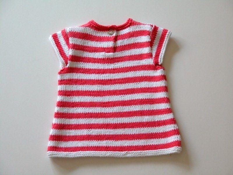 Vestido a rayas fucsias y blancas para bebé de 0 a 3 meses, tejido a ...