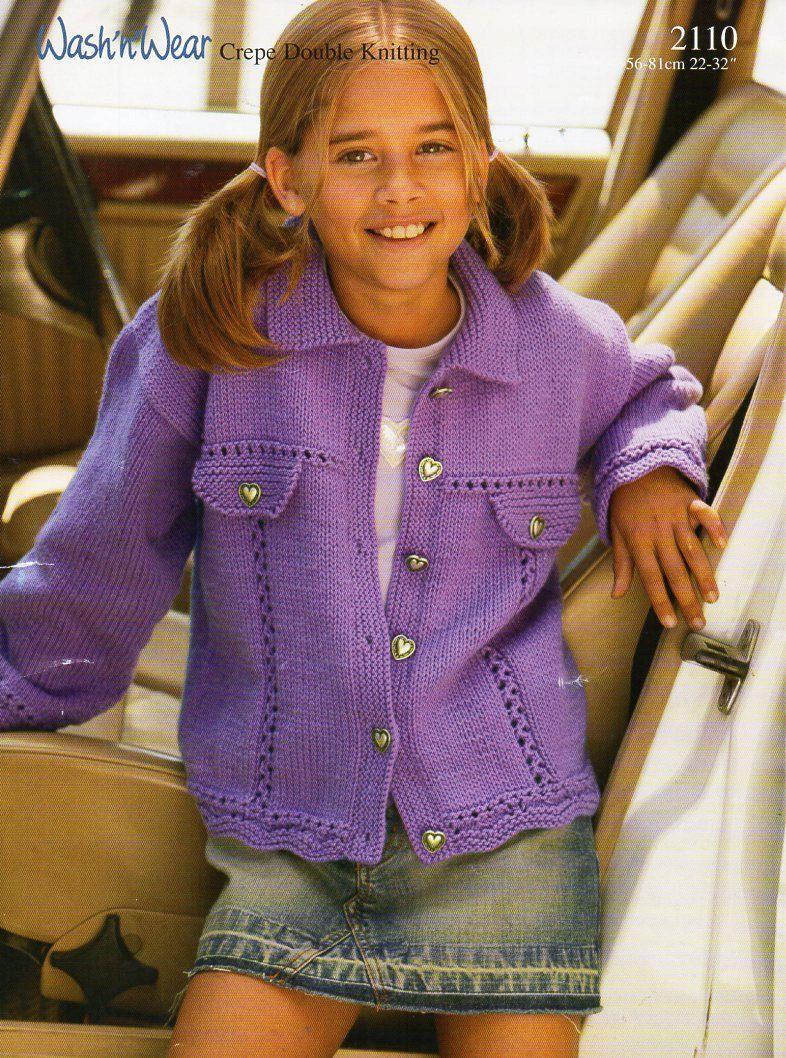 Gorgeous girls cardigan knitting pattern 22-30 inch choose PDF or PAPER copy