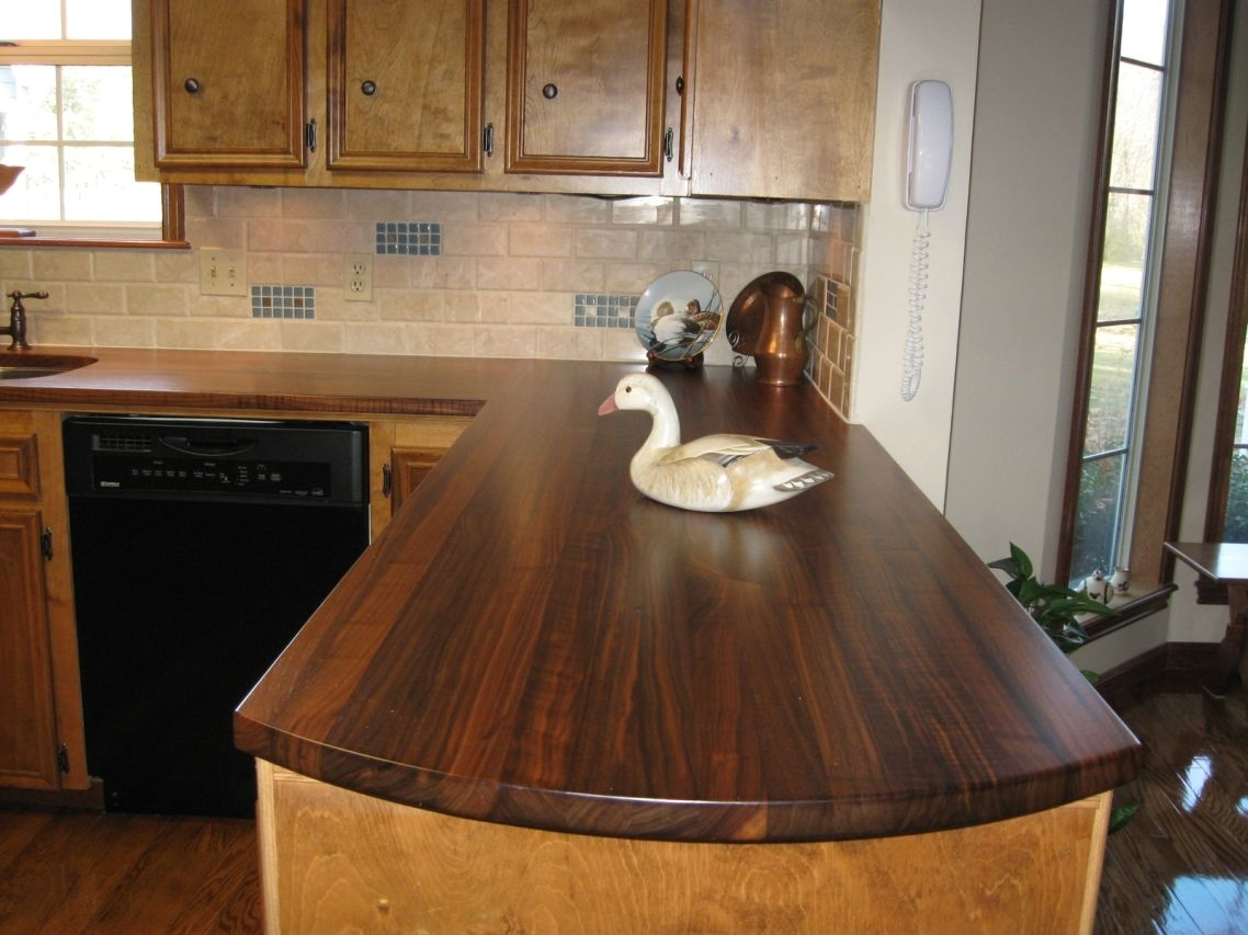 Granite countertops wonderful rustic dark brown walnut for Wooden kitchen cupboards