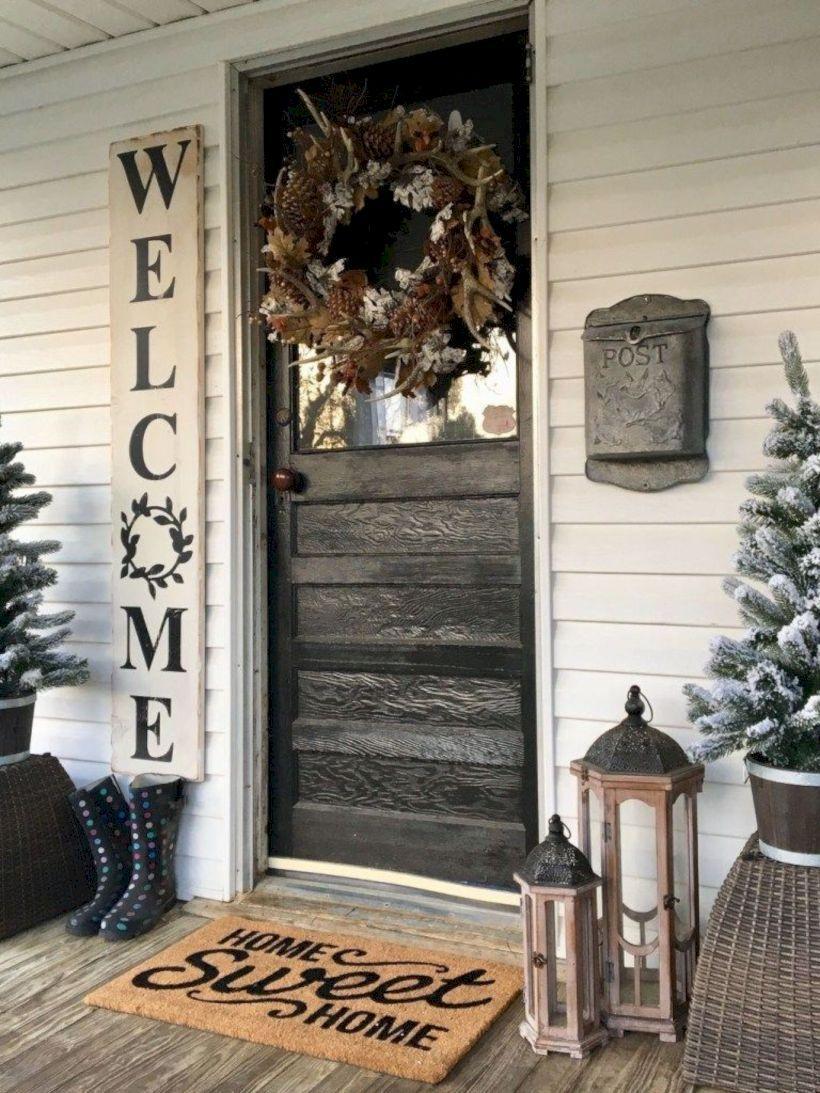 40 Rustic Farmhouse Front Porch Decorating Ideas Rustic Porch Front Porch Decorating Exterior Door Designs