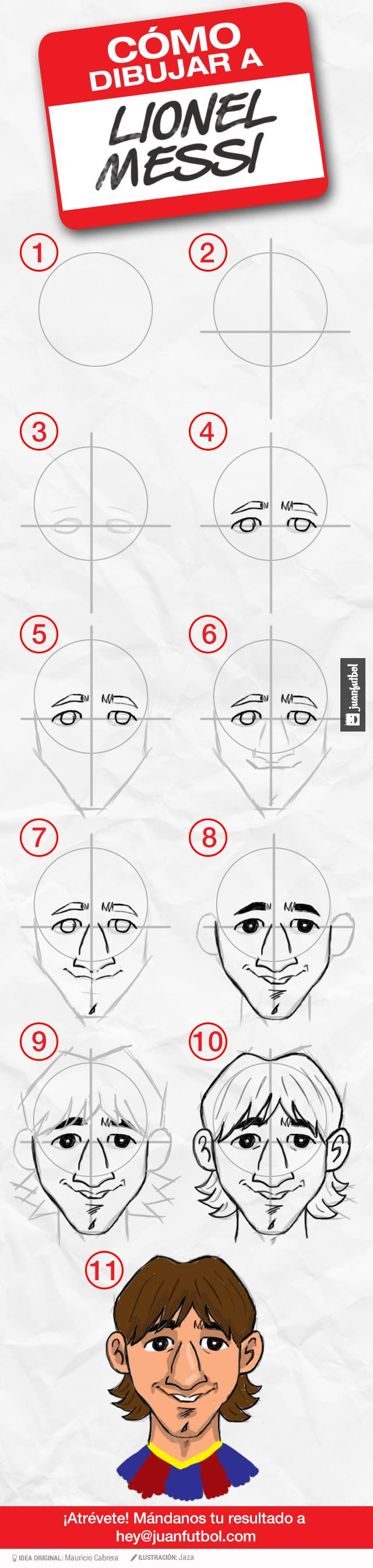Messi En 11 Pasos Messi Dibujo James Rodriguez Como Dibujar