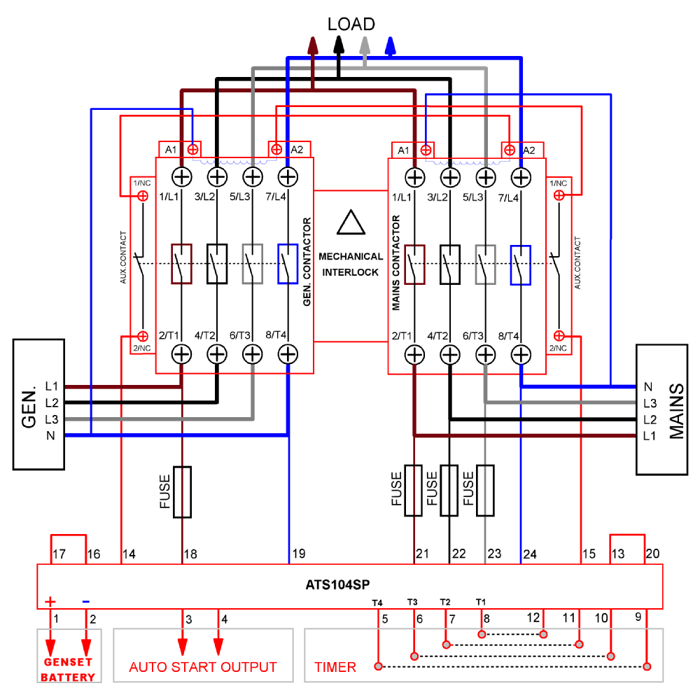 Ats Wiring Diagram Standby Generator : Image result for phase changeover switch wiring diagram