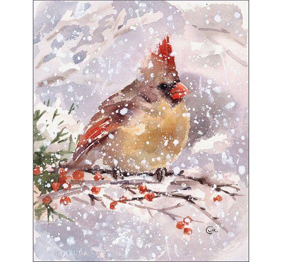 Oiseau Cardinal Aquarelle Original Peinture 7 X 8 1 2 Hiver
