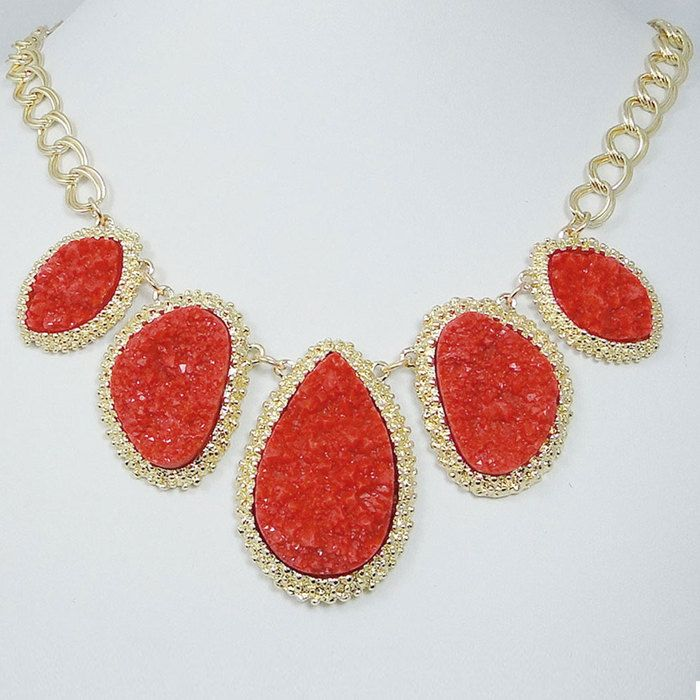 Hot Sale Red Druzy Drop Stone Statement Necklace, Gold Tone Crystal Rhinestone Drusy Bib Necklace via Etsy.