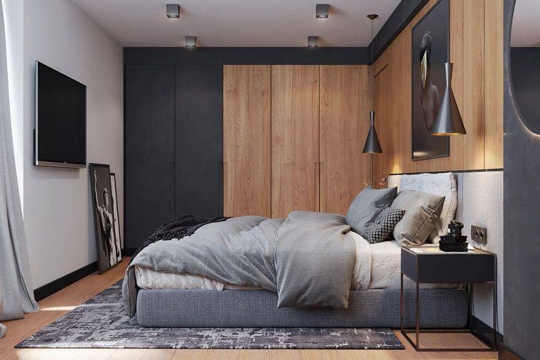 Pareti colorate camera da letto, armadio a muro di legno ...