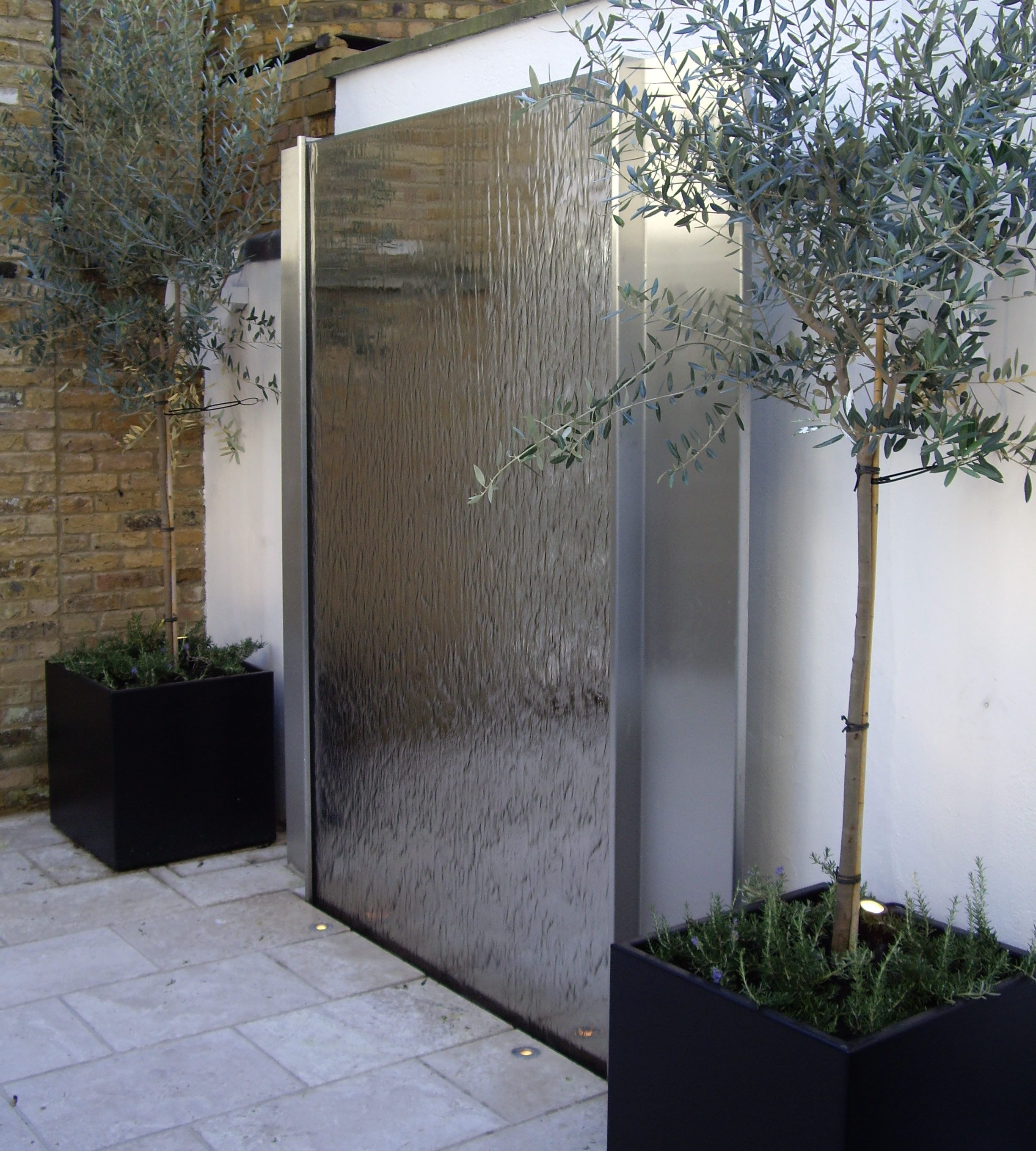 stainless steel water feature 3 | launch lab - interior wall