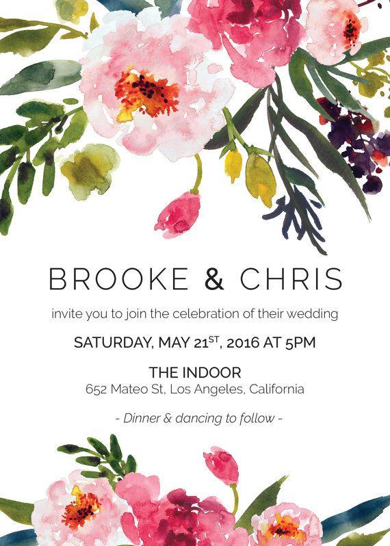floral Watercolor Peonies Printable Wedding Menu modern botanical bohemian pink