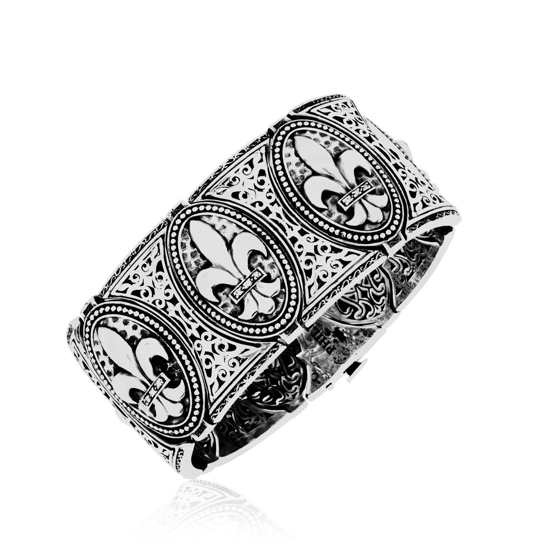 Bangles sterling silver fleur de lis thick bangle with diamonds