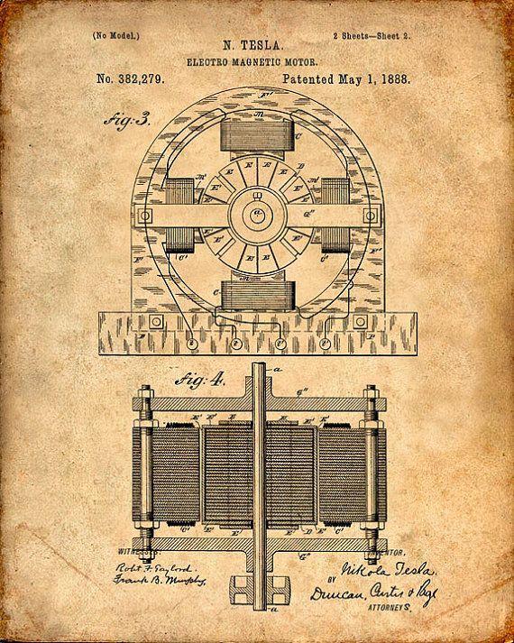 Tesla Electro Magnetic Motor Patent Print Tesla Art Print ...