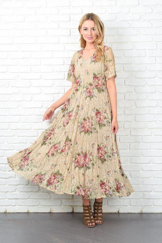 Women's Clothing Clothing, Shoes & Accessories Vintage 90s Beige Dress Grunge Lace Floral Crochet Maxi Full Small S