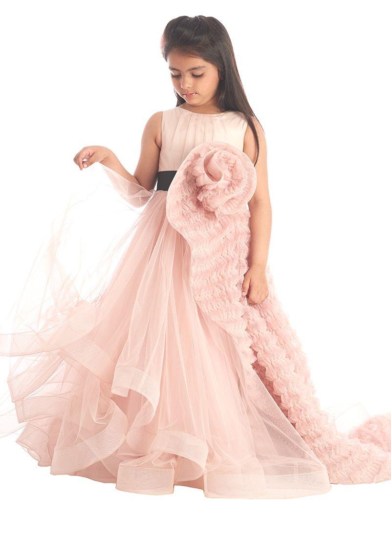 Pink Net Kids Gown   dress   Pinterest