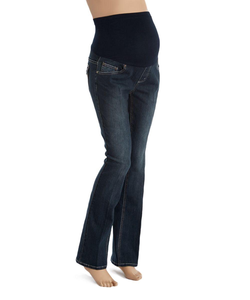 e6825c4d8c0 Bella Vida Dark Blue Bling Boot Cut Maternity Jeans