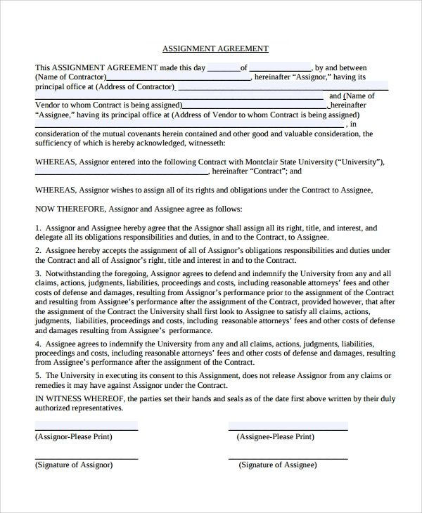 Assignment Agreement In 2021 Assignments Agreement Contract Agreement