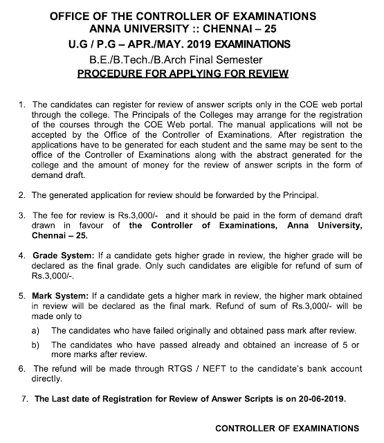 Anna University April May 2019 Final Sem Revaluation ...