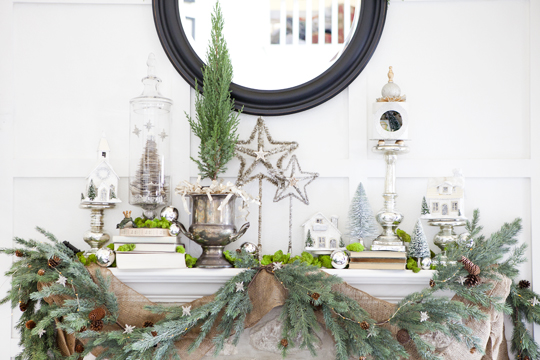 """DIY Pretty Paper Trees - I like the look of it under the glass...Don't forget the glitter """"snow""""!"""