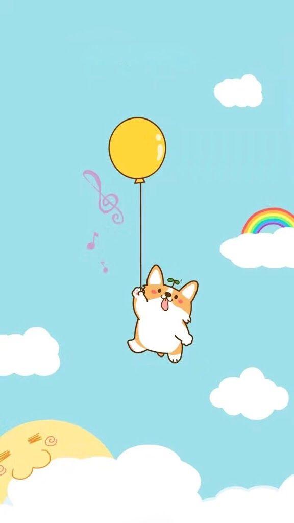 Dog Puppy Balloon Cute Milye Karakuli Milye Risunki Zabavnye Illyustracii