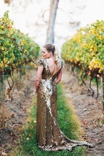 gold wedding dress, gold sequin wedding dress | Alternative ...
