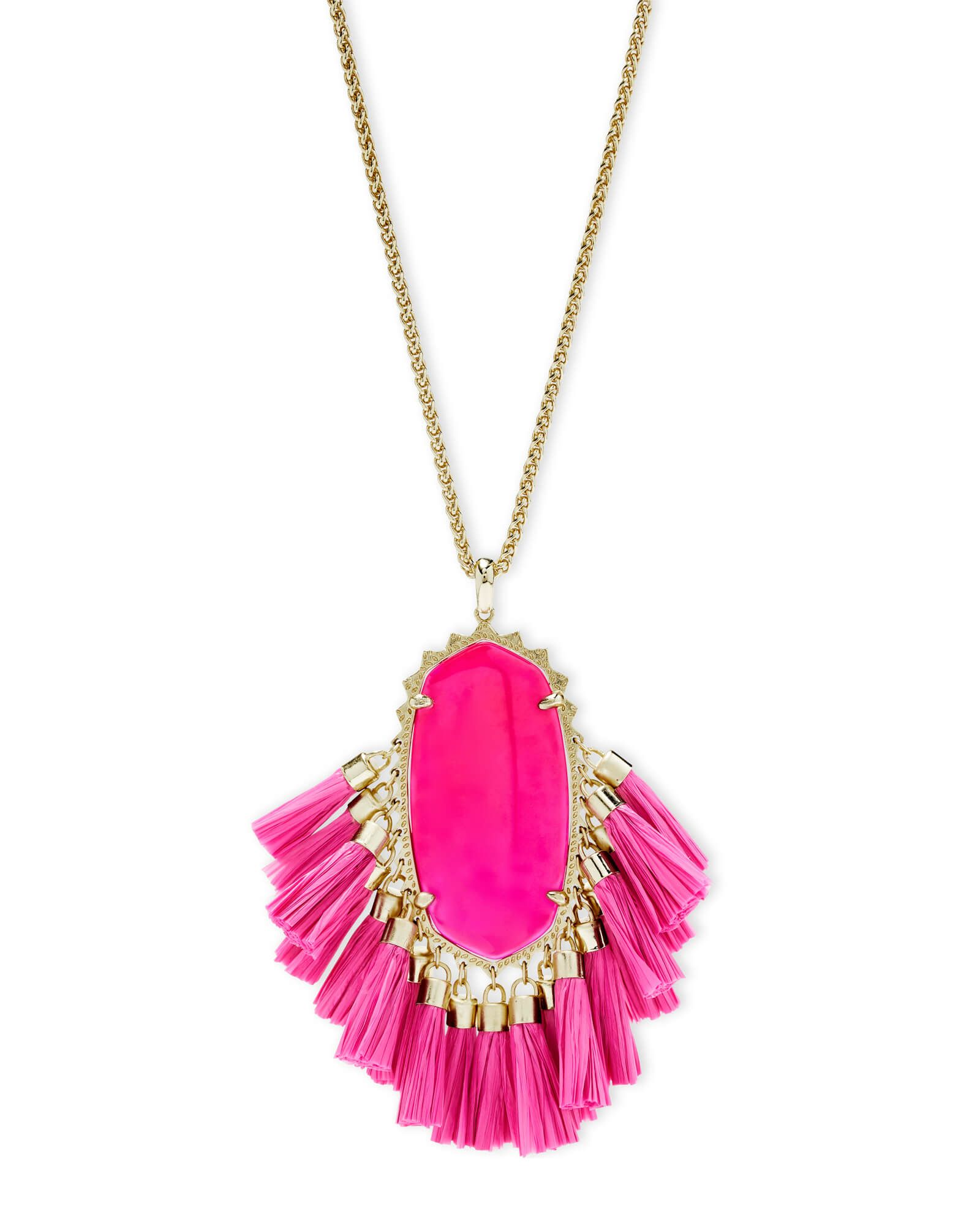Betsy gold long pendant necklace in pink agate kendra scott