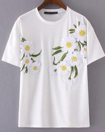 Sunflower Embroidered T Shirt For Women Summer White Flower Tee