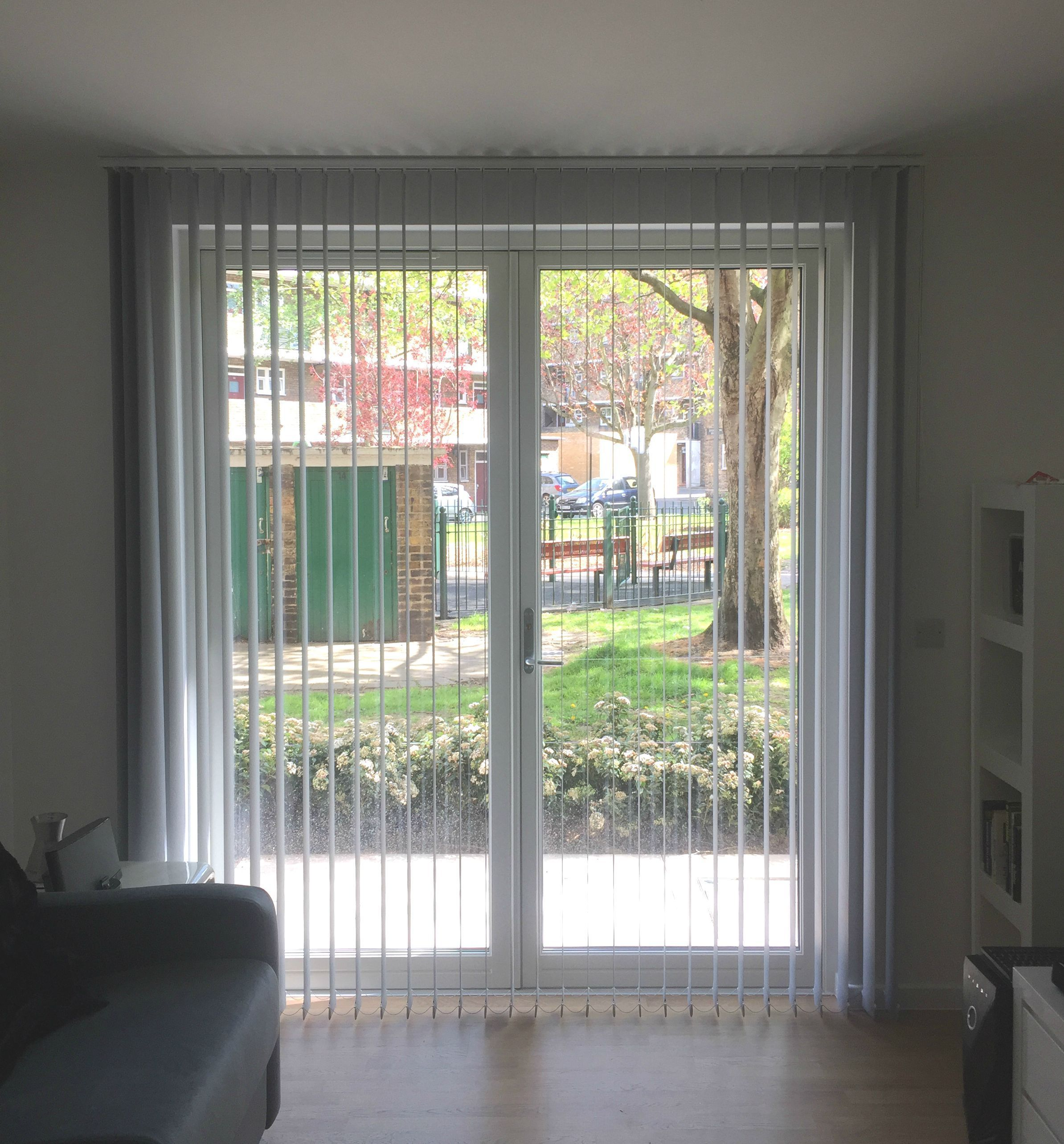 Vertical blinds for sliding door in living room in lambeth london