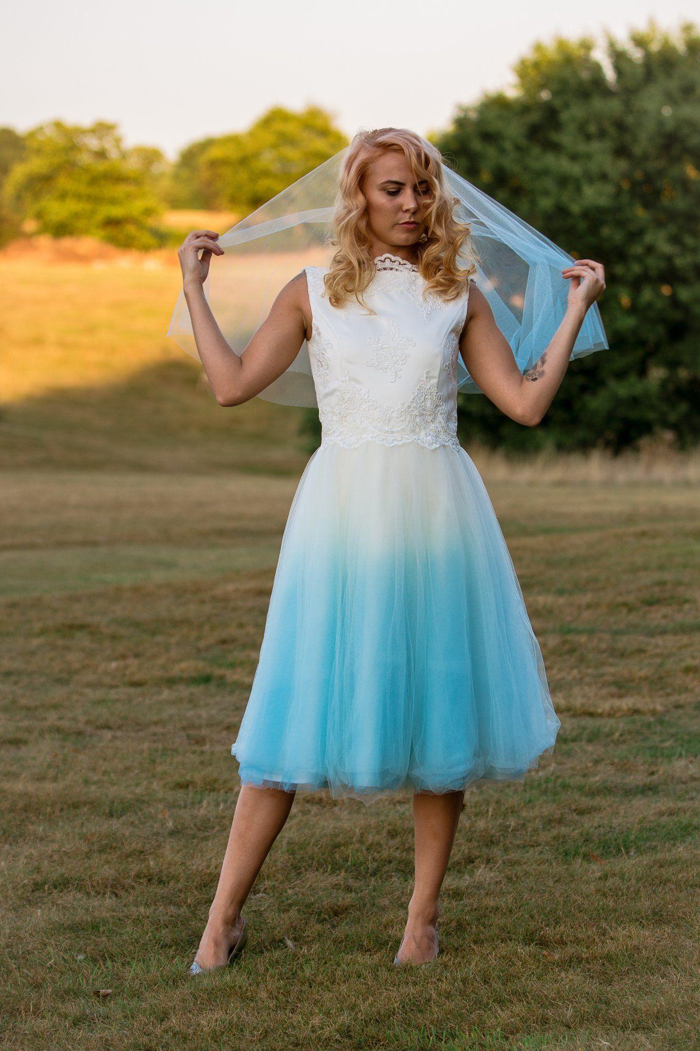 Dip dye Boho style wedding dress. Unique blue Dip dyed wedding dress ...