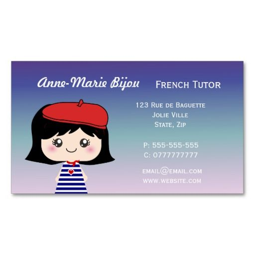Cute french tutor business cards french tutoring pinterest cute french tutor business cards colourmoves
