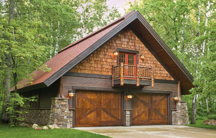 Garage door pictures from great northern door stone for Log cabin style garages